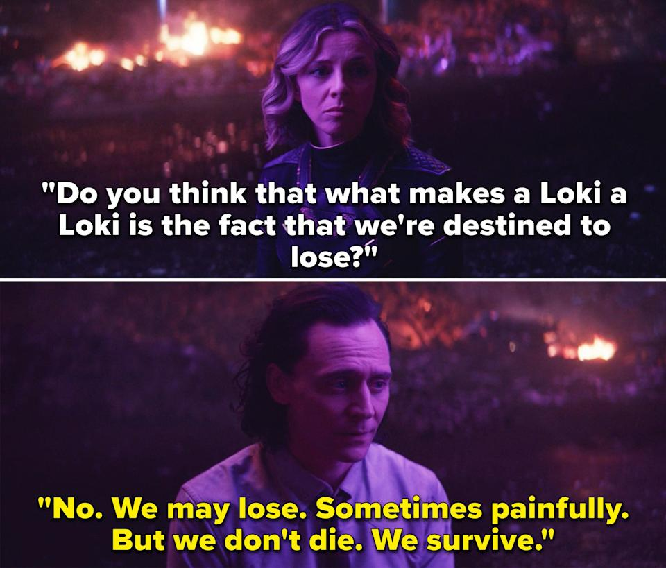 """Sylvie asking Loki, """"Do you think that what makes a Loki a Loki is the fact that we're destined to lose?"""""""