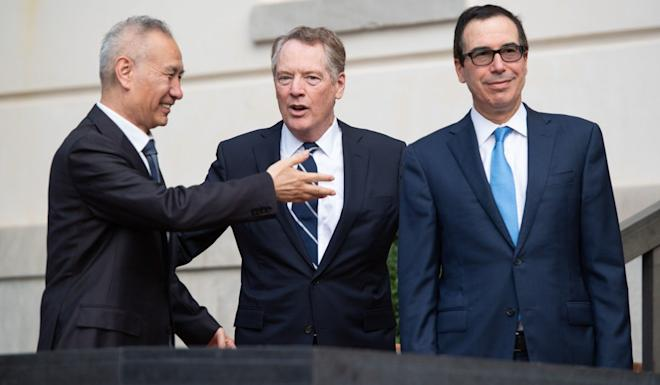 Chinese Vice-Premier Liu He (left) held on-and-off trade talks with the US' Robert Lighthizer (centre) and Steven Mnuchin throughout 2019. Photo: AFP