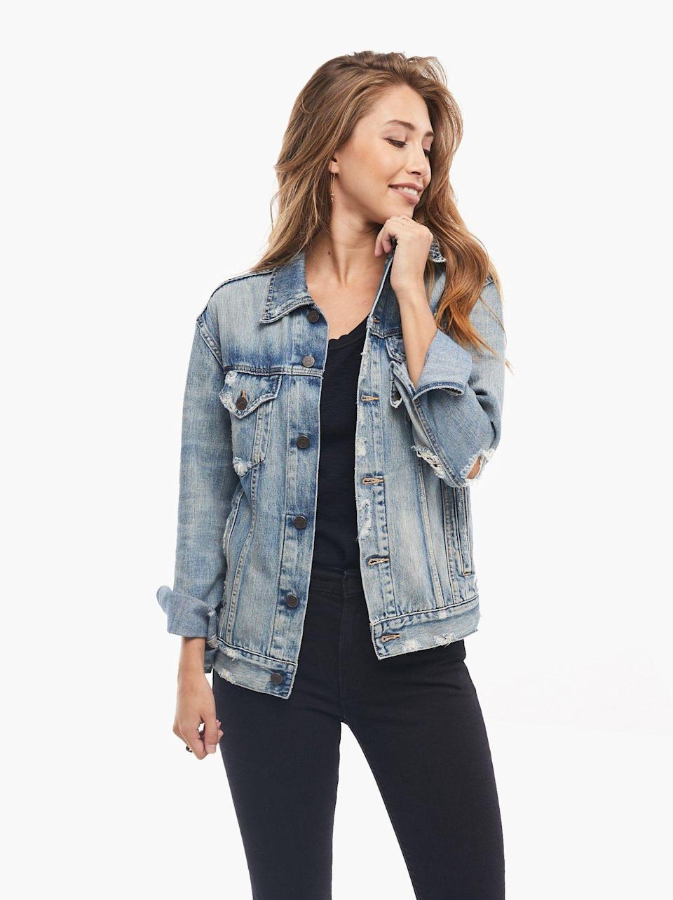 """<p><strong>Able</strong></p><p>livefashionable.com</p><p><strong>$150.00</strong></p><p><a href=""""https://go.redirectingat.com?id=74968X1596630&url=https%3A%2F%2Fwww.livefashionable.com%2Fcollections%2Fjackets%2Fproducts%2Fmerly-jacket&sref=https%3A%2F%2Fwww.prevention.com%2Fbeauty%2Fstyle%2Fg37148346%2Fbest-jean-jackets-for-women%2F"""" rel=""""nofollow noopener"""" target=""""_blank"""" data-ylk=""""slk:Shop Now"""" class=""""link rapid-noclick-resp"""">Shop Now</a></p><p>""""My all-time favorite jean jacket is the Merly from Able,"""" says Baker. """"It's distressed, feels super soft, and has an overall relaxed fit, which is great."""" The jacket also <strong>comes in a faded wash, with ripped detailing, and has a slightly dropped arm</strong>, making it the perfect mix of vintage tomboy and feminine.</p>"""