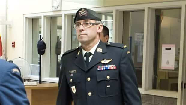 Former warrant officer André Gagnon, pictured here during court martial proceedings in the past, has pleaded guilty to sexual assault.  (Radio-Canada - image credit)