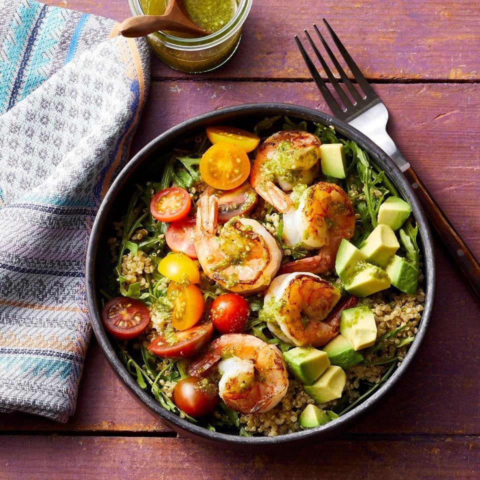 <p>These shrimp and pesto Buddha bowls are delicious, healthy, pretty and take less than 30 minutes to prep. In other words, they're basically the ultimate easy weeknight dinner. Feel free to add additional vegetables and swap the shrimp for chicken, steak, tofu or edamame.</p>