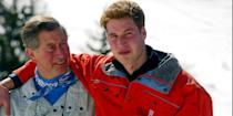 <p>With Prince William on the ski slopes in Klosters, Switzerland. </p>