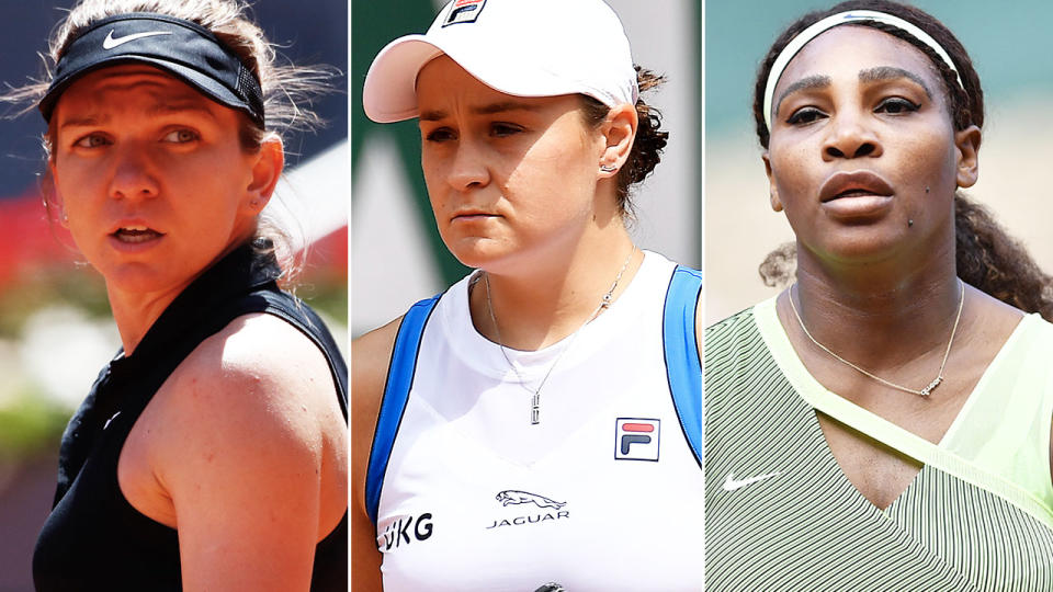 Simona Halep, Ash Barty and Serena Williams, pictured here in action before Wimbledon.