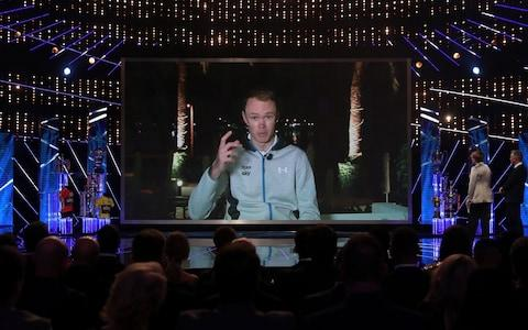 Chris Froome speaks to the SPOTY audience via video link - Credit: David Davies/PA