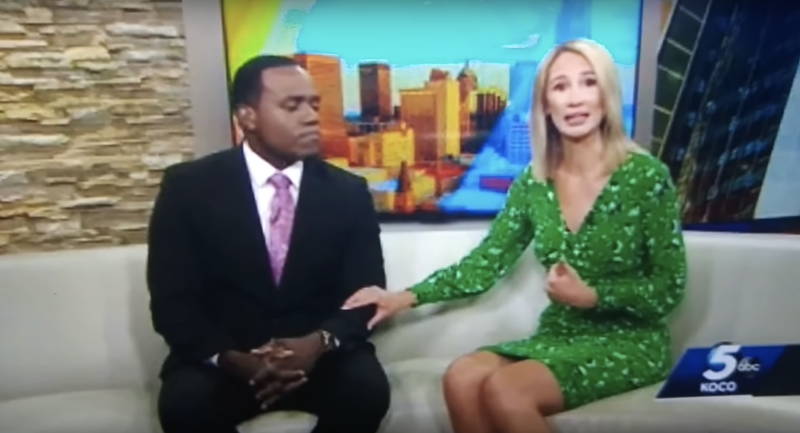 Oklahoma City KOCO television news anchor Alex Housden apologized for saying her black coworker Jason Hackett looks like a gorilla. (Screenshot: YouTube/QR QR)