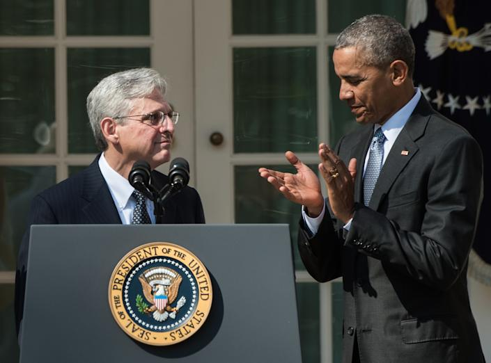 President Barack Obama applauds his Supreme Court justice nominee Merrick Garland in the Rose Garden at the White House in Washington, DC, on March 16, 2016. (Photo: Nicholas Kamm/AFP via Getty Images)