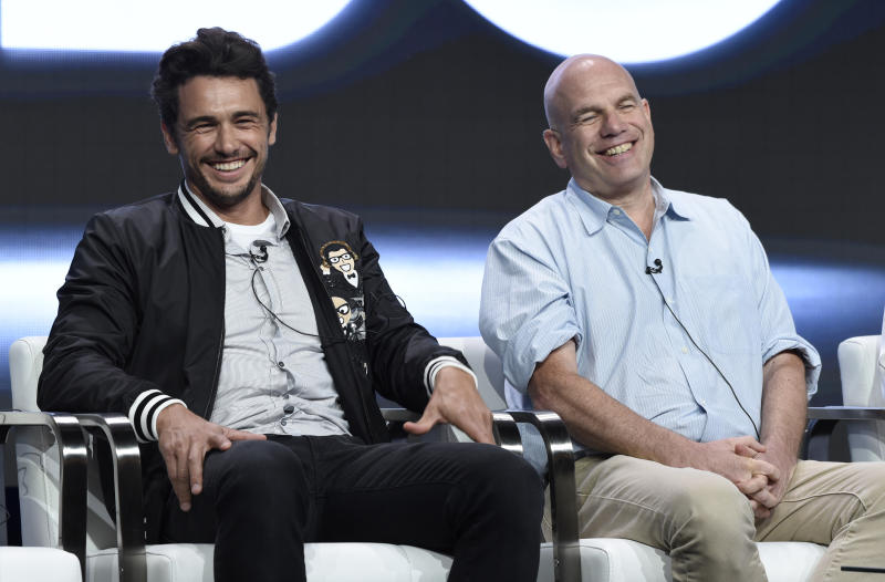 "Actor/executive producer James Franco, left, and executive producer David Simon participate in ""The Deuce"" panel during the HBO Television Critics Association Summer Press Tour at the Beverly Hilton on Wednesday, July 26, 2017, in Beverly Hills, Calif. (Photo by Chris Pizzello/Invision/AP)"