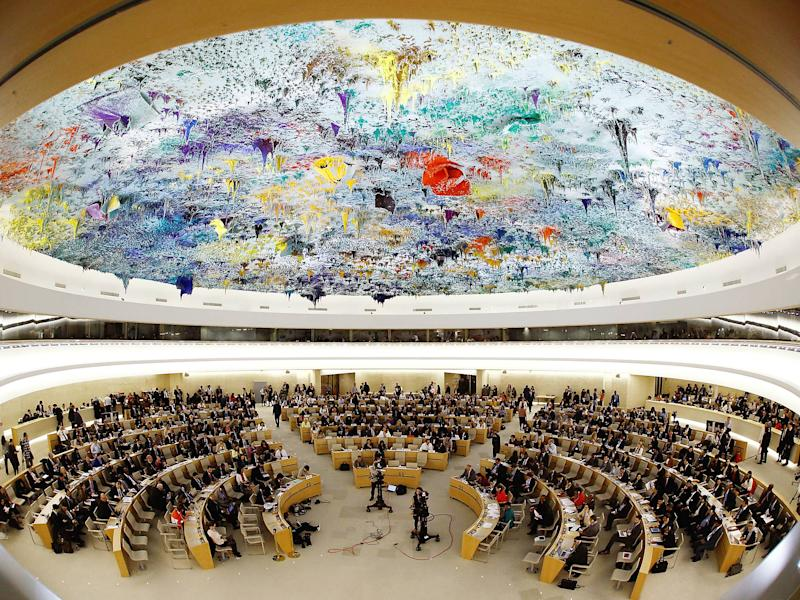 Overview of the United Nations Human Rights Council is seen in Geneva, Switzerland: REUTERS/Denis Balibouse