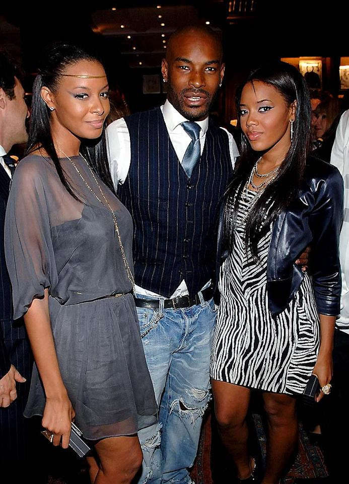 """Supermodel Tyson Beckford finds himself sandwiched between two hotties - Vanessa and Angela Simmons (daughters of Reverend Run). Jamie McCarthy/<a href=""""http://www.wireimage.com"""" target=""""new"""">WireImage.com</a> - September 10, 2008"""