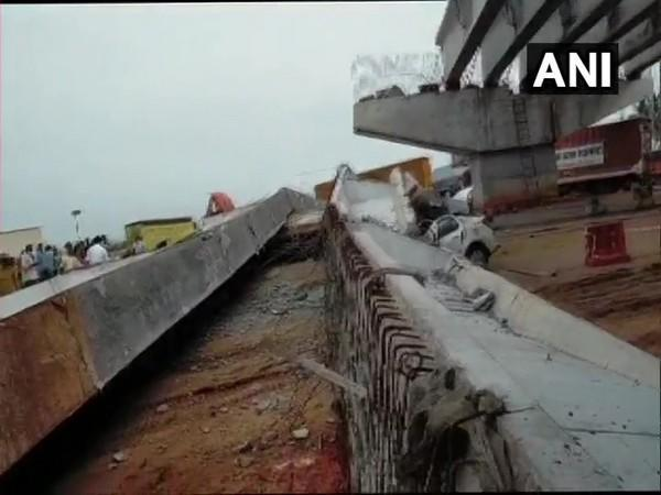 Visual of collapsed flyover in Anakapalle. (Photo/ANI)