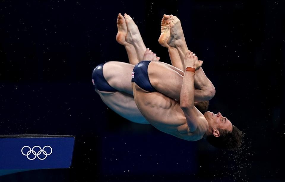 Great Britain's Tom Daley (right) and Matty Lee during the Men's Synchronised 10m Platform Final at the Tokyo Aquatics Centre on the third day of the Tokyo 2020 Olympic Games in Japan. Picture date: Monday July 26, 2021.