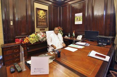 India's new Finance Minister Arun Jaitley sits inside his office at the finance ministry in New Delhi
