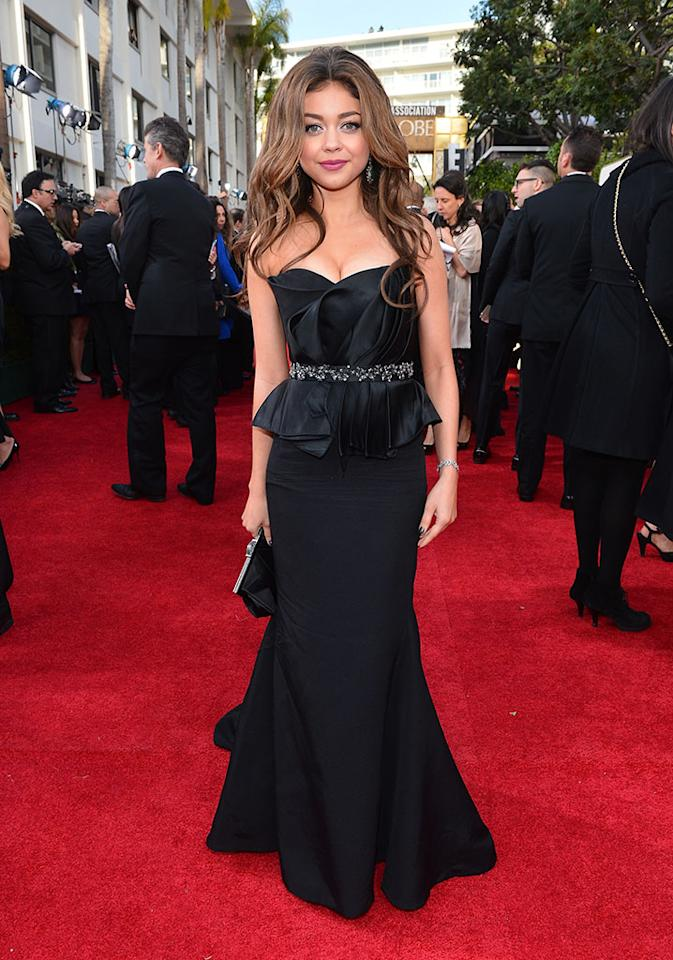 Sarah Hyland arrives at the 70th Annual Golden Globe Awards at the Beverly Hilton in Beverly Hills, CA on January 13, 2013.