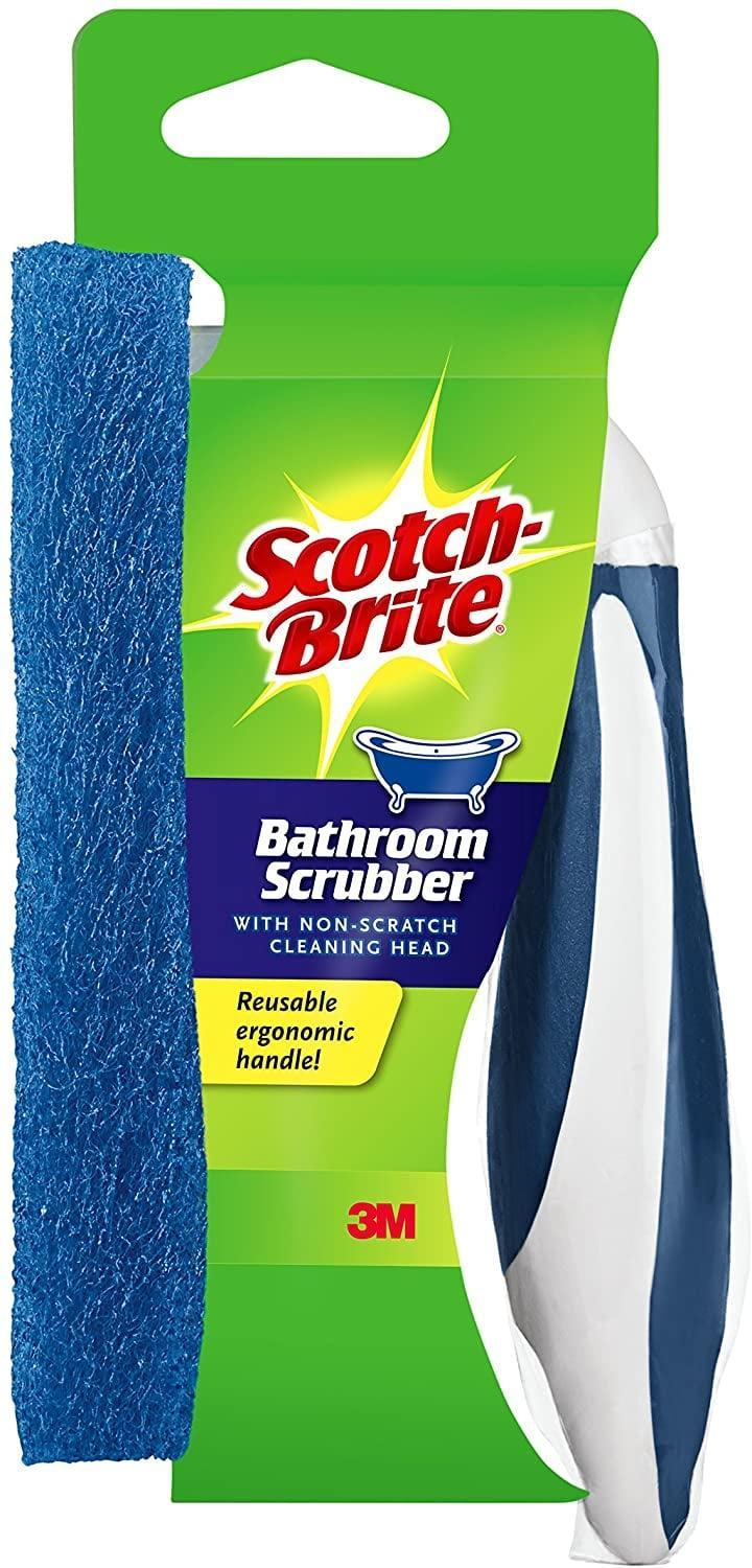 """<p>If cleaning is still your form of cardio and you want to use some actual arm power, the <span>Scotch-Brite Non-Scratch Bathroom Scrubber With Reusable Handle</span> ($8) is a cheaper option to a power brush. This still washes away grime while keeping hands clean . . . so are you ready to say """"bye"""" to your regular sponge (since <span>it's refillable, too</span>)?</p>"""
