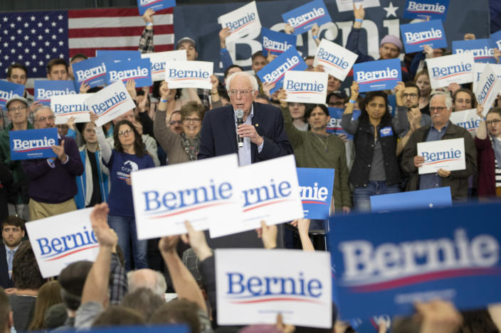 Bernie Sanders at a campaign rally in Milford, N.H. (Mary Altaffer/AP)