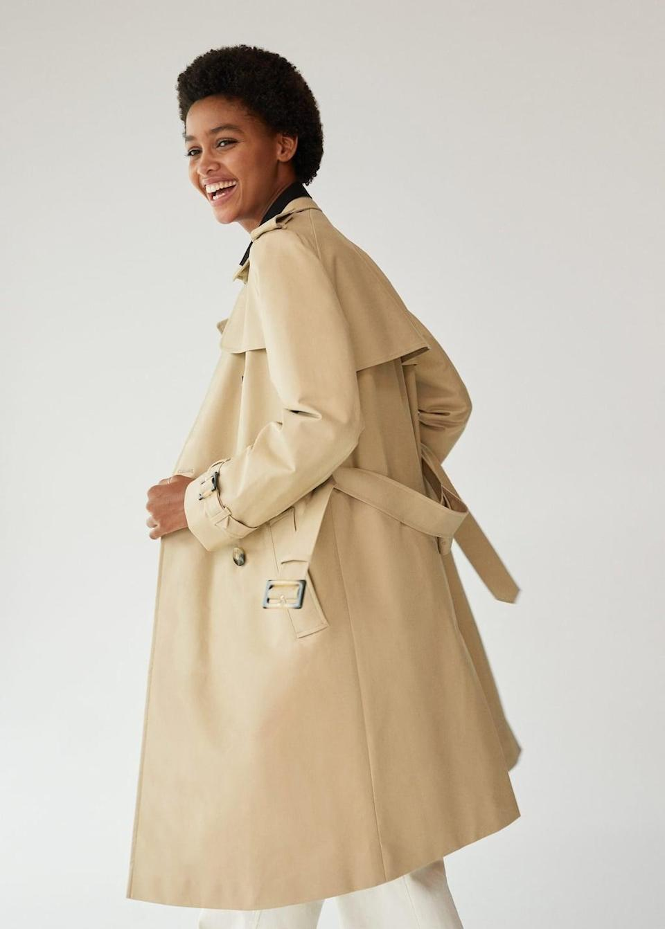 <p>You'll look effortlessly stylish in this statement <span>Mango Double Breasted Trench Coat</span> ($60, originally $120).</p>
