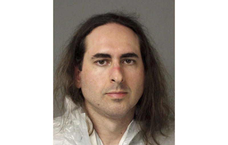 FILE - This June 28, 2018, file photo provided by the Anne Arundel Police shows Jarrod Ramos in Annapolis, Md. A pretrial hearing is scheduled Tuesday, June 25, 2019, in the case of Ramos, who is charged with fatally gunning down five people at the Capital Gazette newspaper in Maryland. (Anne Arundel Police via AP, File)