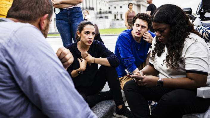 U.S. Representatives Alexandria Ocasio-Cortez (D-NY) (C) and Cori Bush (D-MO) (R) continue their protest for an extension of the eviction moratorium on the steps to the House of Representatives at the U.S. Capitol Building on August 1, 2021 in Washington, DC. (Samuel Corum/Getty Images)