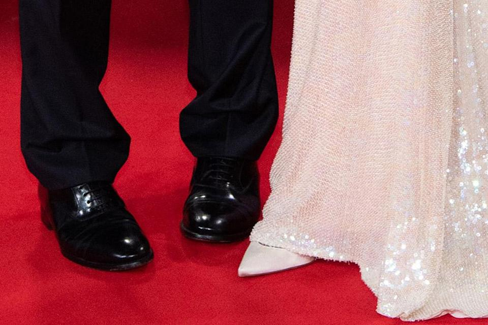 A closer view of George and Amal Clooney & # x002019; s shoes.  - Credit: MEGA