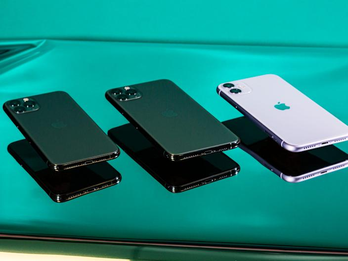 The iPhone 11 Pro (left), iPhone 11 Pro Max (middle), and iPhone 11 (right)