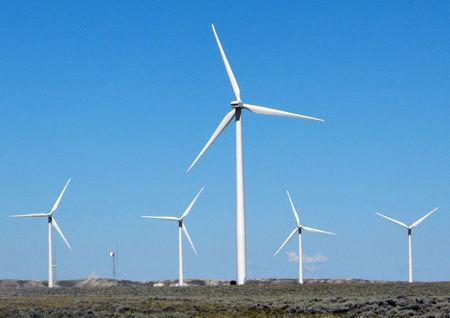 FILE PHOTO - A finished wind turbine complex is shown in southern Wyoming