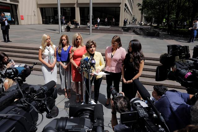 Attorney Gloria Allred speaks about her work on behalf of several former Houston Texans cheerleaders while standing with fellow attorney Kimberley Spurlock outside of NFL headquarters in New York, U.S., June 4, 2018. REUTERS/Lucas Jackson