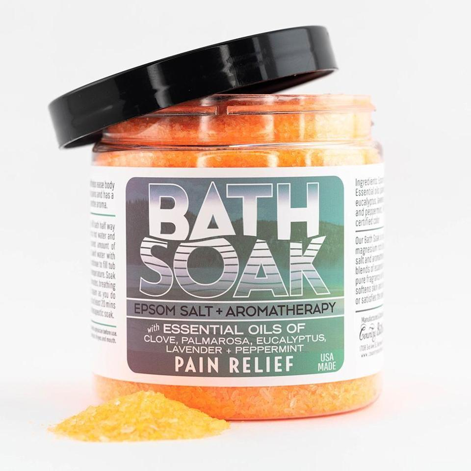 "<p>countrybathhouse.com</p><p><strong>$20.00</strong></p><p><a href=""https://countrybathhouse.com/products/bath-soak-pain-relief"" rel=""nofollow noopener"" target=""_blank"" data-ylk=""slk:Shop Now"" class=""link rapid-noclick-resp"">Shop Now</a></p><p>This epsom salt bath soak soothes the inevitable aches and pains with clove, palmarosa, eucalyptus, lavender, and peppermint. </p>"