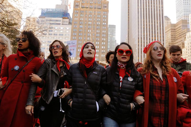 """March 8, 2017, saw a """"Day Without A Woman"""" march on International Women's Day in New York City. (Lucas Jackson / Reuters)"""