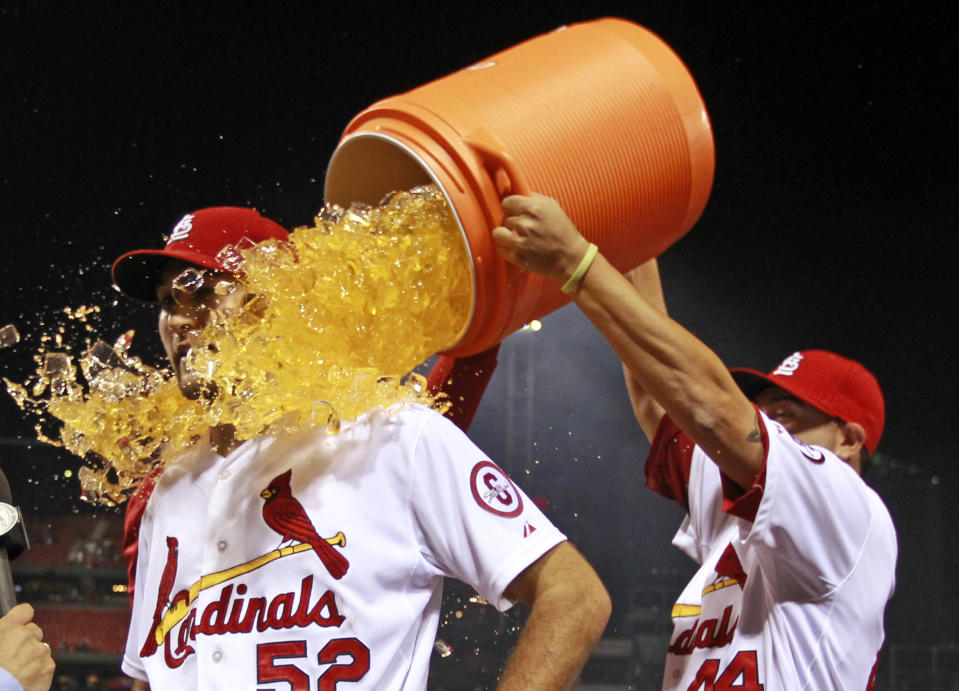 St. Louis Cardinals starting pitcher Michael Wacha is dunked by teammate Edward Mujica, right, following a baseball game against the Washington Nationals Tuesday, Sept. 24, 2013, in St. Louis. Wacha gave up a no-hitter with two outs in the ninth inning and the Cardinals won 2-0. (AP Photo/Jeff Roberson)