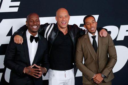 Actors Tyrese Gibson, Vin Diesel and Ludacris attend 'The Fate Of The Furious' New York premiere at Radio City Music Hall in New York