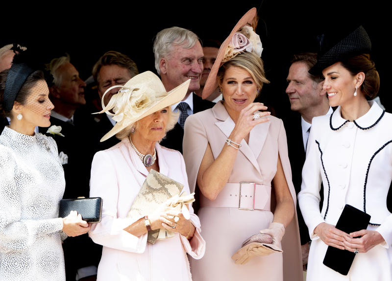 Queen Letizia of Spain, Queen Maxima of The Netherlands, Camilla Duchess of Cornwall and Catherine Duchess of Cambridge at St George's Chapel on June 17, 2019 in Windsor, England