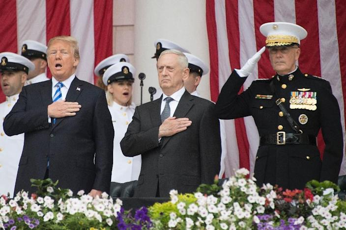 There is speculation that Pentagon chief Jim Mattis -- pictured here with Donald Trump in May 2018 -- might quit if the president sidelines him (AFP Photo/JIM WATSON)