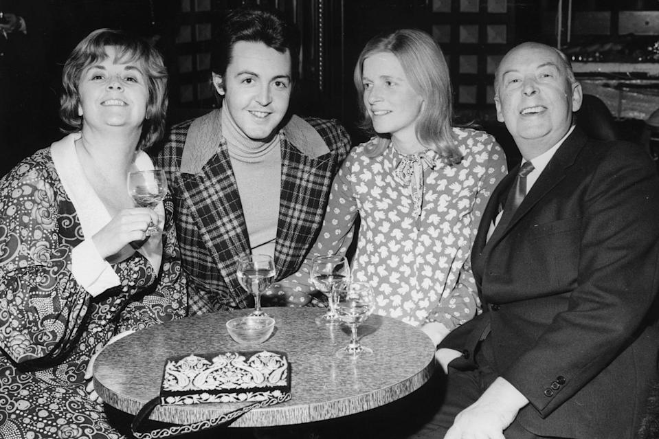 <p>With wife Linda, his father James and his stepmother Angela in 1971.</p>