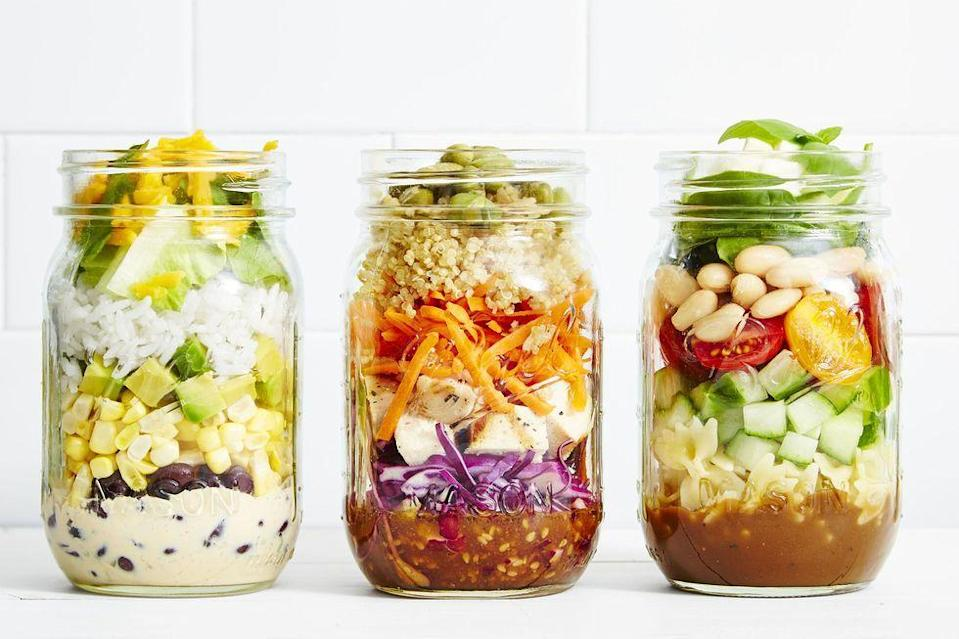 """<p>Just flip it over, watch the dressing run down, and dig into this veggie-packed mason jar salad.</p><p><em><a href=""""https://www.goodhousekeeping.com/food-recipes/easy/a28639122/chickpea-pasta-salad-recipe/"""" rel=""""nofollow noopener"""" target=""""_blank"""" data-ylk=""""slk:Get the recipe for Chickpea Pasta Salad in a Jar »"""" class=""""link rapid-noclick-resp"""">Get the recipe for Chickpea Pasta Salad in a Jar »</a></em></p><p><strong>RELATED:</strong> <a href=""""https://www.goodhousekeeping.com/food-recipes/a28377603/how-to-meal-prep/"""" rel=""""nofollow noopener"""" target=""""_blank"""" data-ylk=""""slk:A Beginner's Guide on How to Meal Prep Like a Pro"""" class=""""link rapid-noclick-resp"""">A Beginner's Guide on How to Meal Prep Like a Pro</a></p>"""