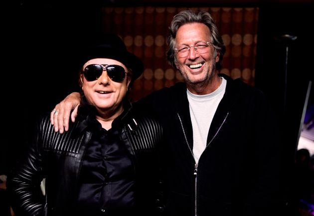 Van Morrison and Eric Clapton backstage during two sold-out nights at London's Royal Albert Hall in April 2009. (Photo: Getty Images)