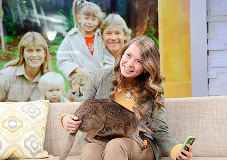 Bindi Irwin poses with a kangaroo while on Good Morning America on Thursday, March 6