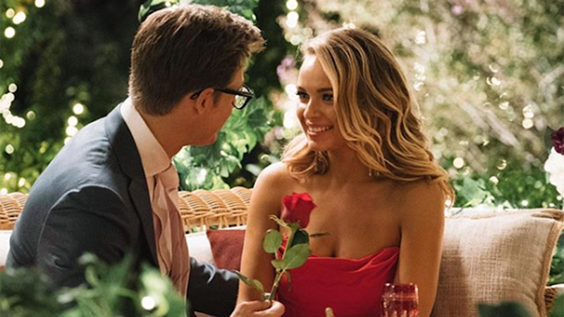 Last night Abbie Chatfield turned up the heat on The Bachelor when she and Matt Agnew kissed. Photo: Channel Ten