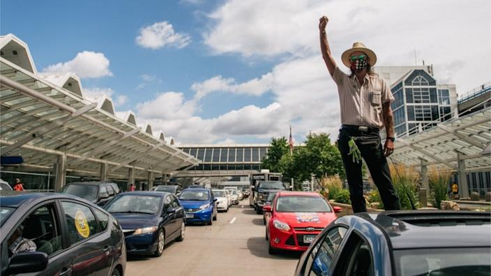 The airport in Minneapolis, where George Floyd died in police custody, was also the scene of protests
