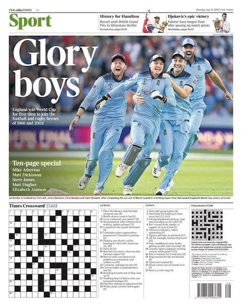 The Times, sports pages