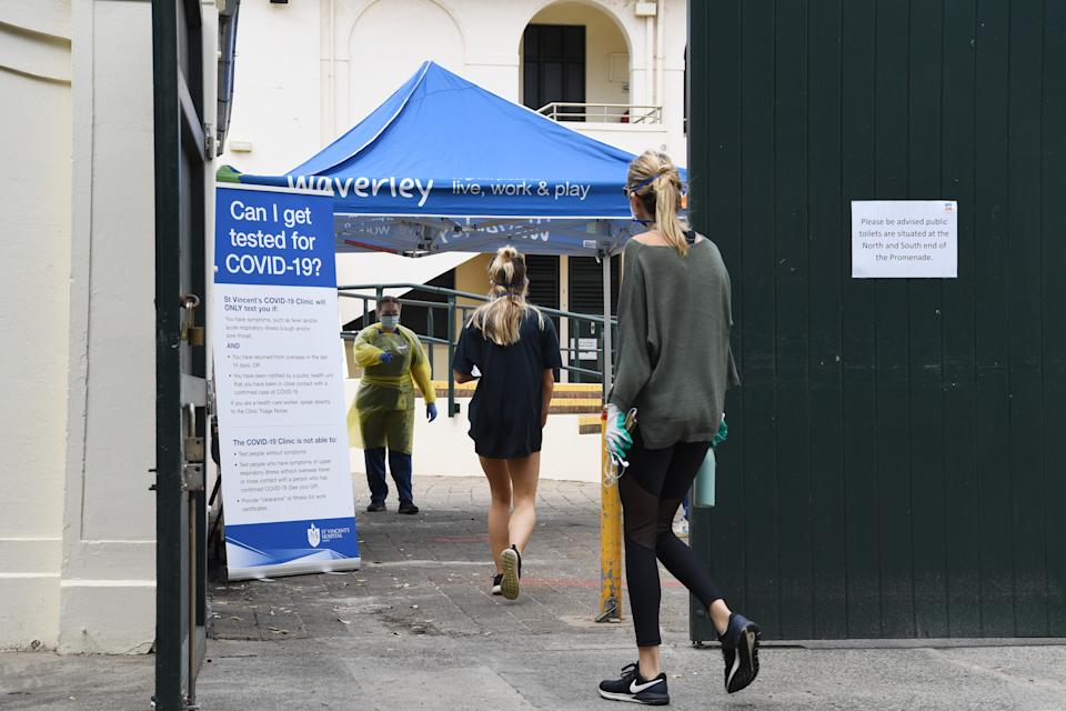 A new COVID-19 testing clinic in Bondi, where a cluster of cases have been identified.