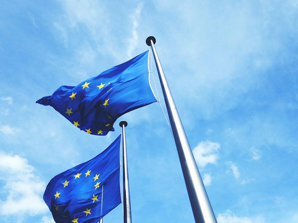 Low Angle View Of European Union Flags