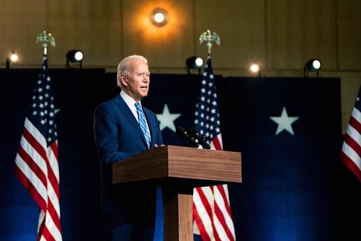 Joe Biden, then the Democratic nominee for president, speaks to reporters in Wilmington, Del., on Nov. 4, 2020, the day after Election Day. (Erin Schaff/The New York Times)