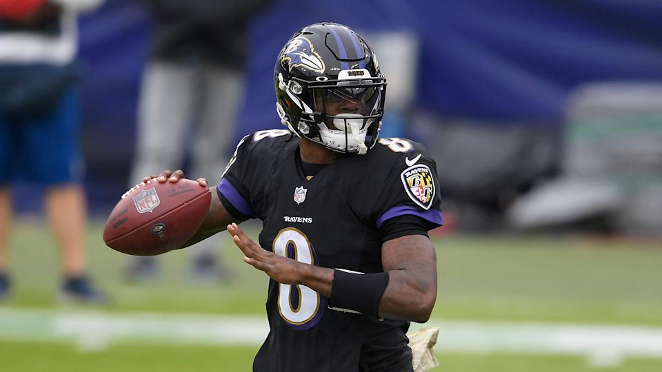 Baltimore Ravens quarterback Lamar Jackson (8) in action during the first half of an NFL football game against the Tennessee Titans, Sunday, Nov. 22, 2020, in Baltimore. (AP Photo/Nick Wass)