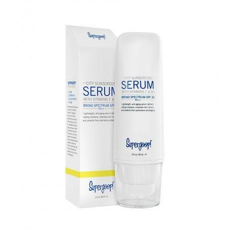 "<h3>Supergoop! City Serum SPF 30</h3><br>Perhaps the only serum that can effectively be used in lieu of both your moisturizer <em>and</em> your sunscreen, this SPF 30 formula is lightweight yet hydrating, thanks to a dose of vitamin E and a proprietary complex that works in tandem with your skin's natural moisture mechanisms. Because it absorbs both UVA and UVB rays, the physical sunscreen protects against premature aging and sunburn — a full 360-degree coverage plan in one TSA-friendly bottle.<br><br><strong>Supergoop!</strong> City Serum SPF 30, $, available at <a href=""https://go.skimresources.com/?id=30283X879131&url=https%3A%2F%2Fwww.birchbox.com%2Fproduct%2F2206"" rel=""nofollow noopener"" target=""_blank"" data-ylk=""slk:Birchbox"" class=""link rapid-noclick-resp"">Birchbox</a>"