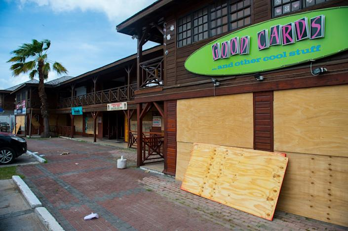 Windows of a restaurant are boarded up as part of preparations for arrival of Hurricane Irma on in Simpson Bay, on the French overseas island of Saint-Martin.