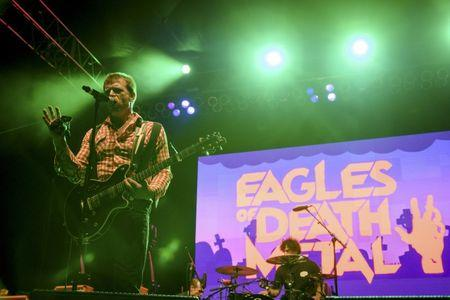 File photo of Jesse Hughes and the rock band Eagles of Death Metal performing in Los Angeles