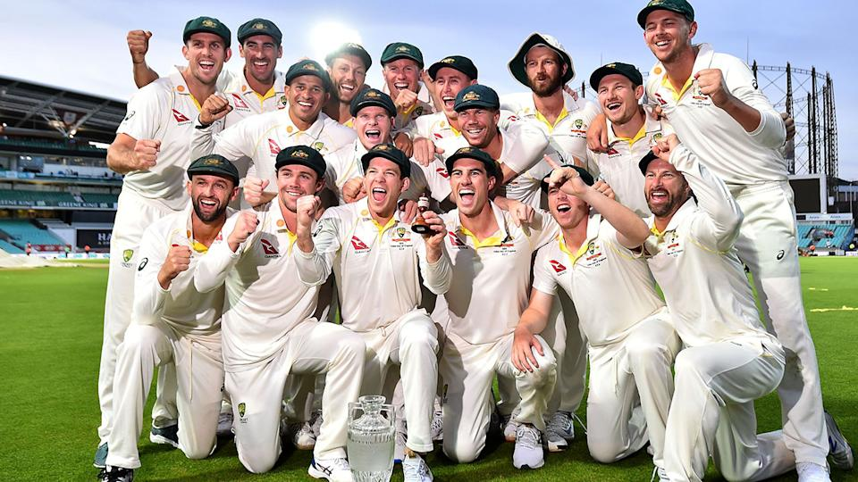 Tim Paine, pictured here celebrating retaining the Ashes with teammates.