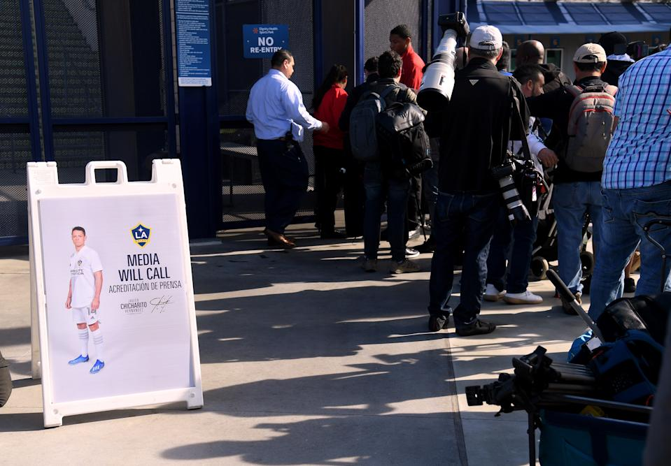 """CARSON, CALIFORNIA - JANUARY 23:   Media line up for a Javier """"Chicharito"""" Hernandez press conference at Dignity Health Sports Park on January 23, 2020 in Carson, California. (Photo by Harry How/Getty Images)"""