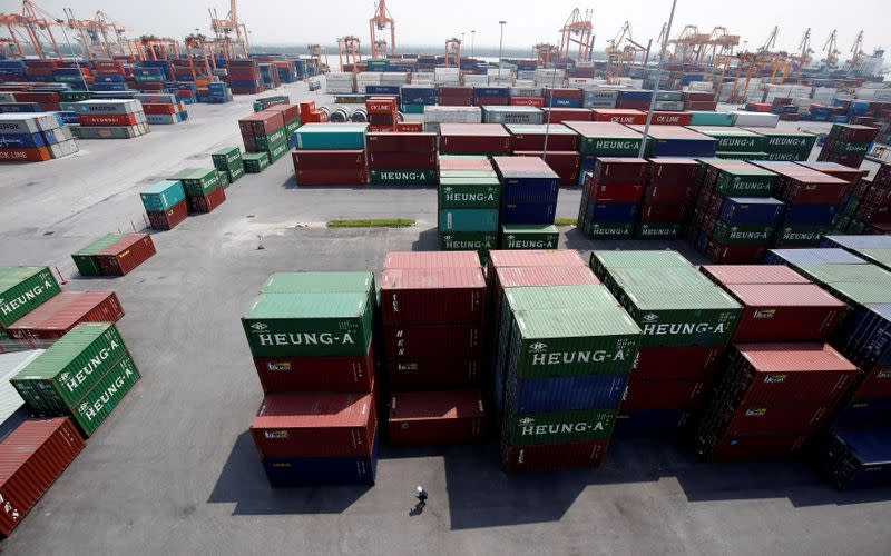 FILE PHOTO: Shipping containers are seen at a port in Hai Phong city