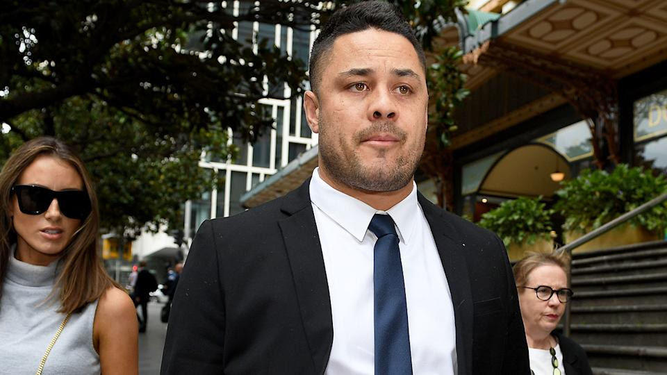 Pictured here, Jarryd Hayne outside the Downing Centre court in Sydney.